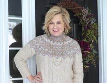 Fashion Blogger 50 Is Not Old styling a monochromatic look with a ecru Fairisle sweater from Chico's