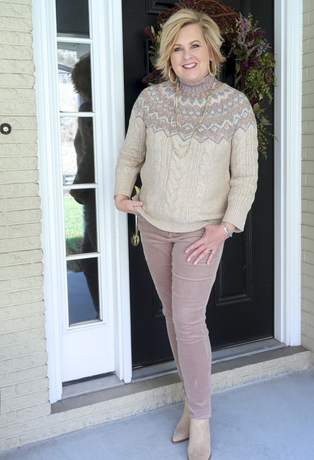 Fashion Blogger 50 Is Not Old wearing a Fairisle sweater in browns from Chico's and a sand corduroy pant from The Loft
