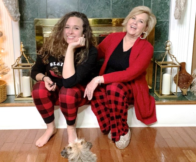 Fashion blogger 50 Is Not Old and daughter in buffalo plaid pajamas