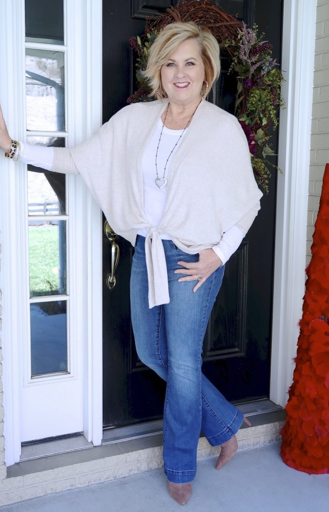 Casual style from Fashion Blogger 50 Is Not Old in a tie-front cardigan from Chico's