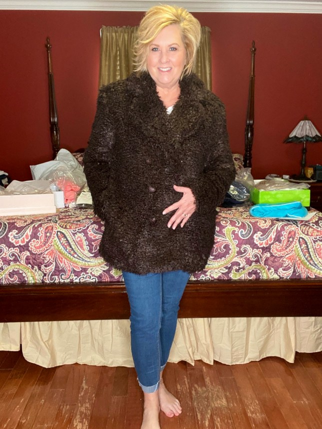 A brown teddy jacket worn by fashion blogger 50 Is Not Old