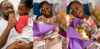 Davido's daughter Imade gets cash gift, chocolate from Tooth fairy as first tooth falls off
