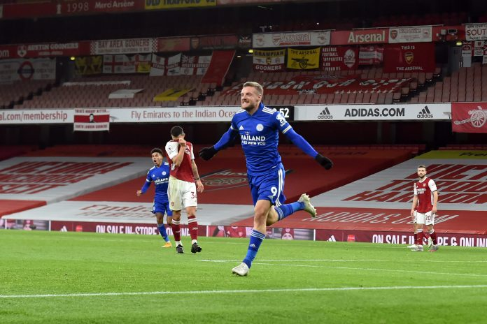 Jamie Vardy scored his fifth goal at the Emirates Stadium as Leicester defeats Arsenal epl - IMG 20201026 064645 scaled - EPL: Vardy Solitary goal makes the difference as Partey makes full home debut