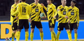 Erling Haaland with teammates after scoring four goals against Hertha Berlin