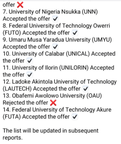 List of universities that accepted fgs offer asuu - scrnli 11 25 2020 8 45 51 PM - ASUU Strike: List Of Universities That Accepted FG's Offer