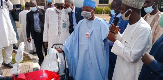 Aminu Masari tests drive two new buses purchase for Katsina State transport authority