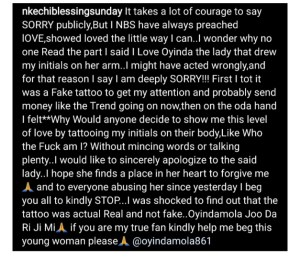 - Screenshot 20210225 104116 2 300x259 - Nkechi Blessing Sunday Finally Tenders Apologies To Follower Who Tattooed Her Name On Her Arm
