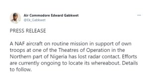 - Screenshot 20210401 080021 1 300x148 - During An Operation In Northern Nigeria, A Nigerian Air Force Plane Goes Missing  - Screenshot 20210401 080021 1 - During An Operation In Northern Nigeria, A Nigerian Air Force Plane Goes Missing