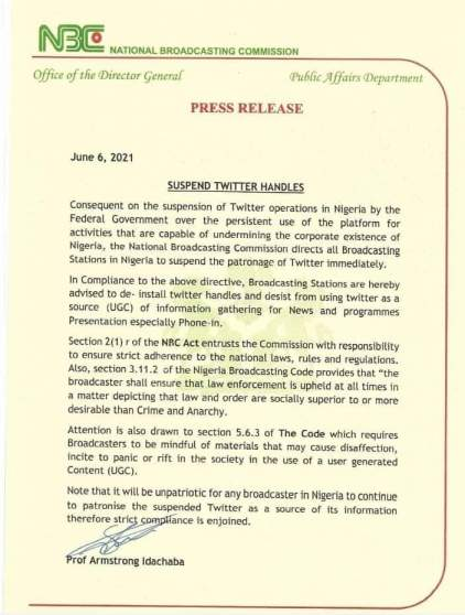 nbc directs broadcast stations to de-install twitter handles immediately - WhatsApp Image 2021 06 07 at 11 - NBC directs broadcast stations to de-install Twitter handles immediately