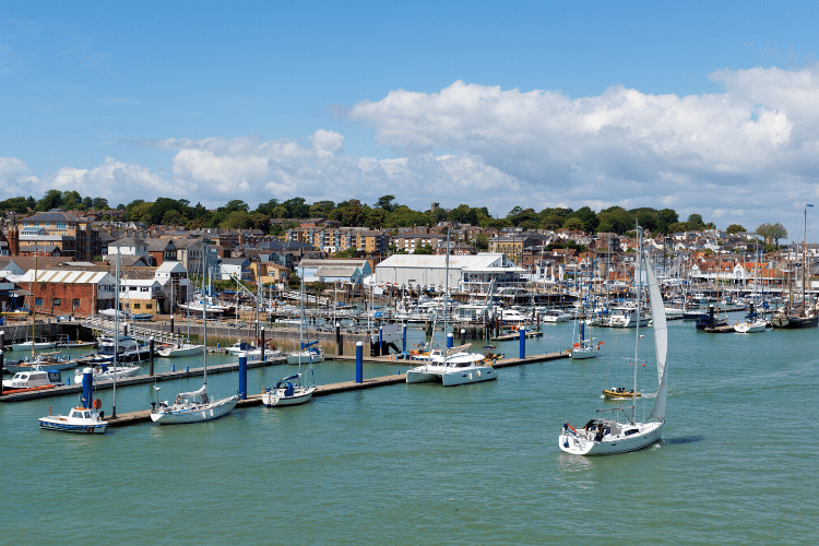 Cowes, Isle of Wight. The harbour with the town beyond