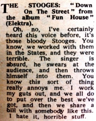 Apparently Maggie Bell of Stone The Crows was not a fan (Melody Maker, December 26th 1970)