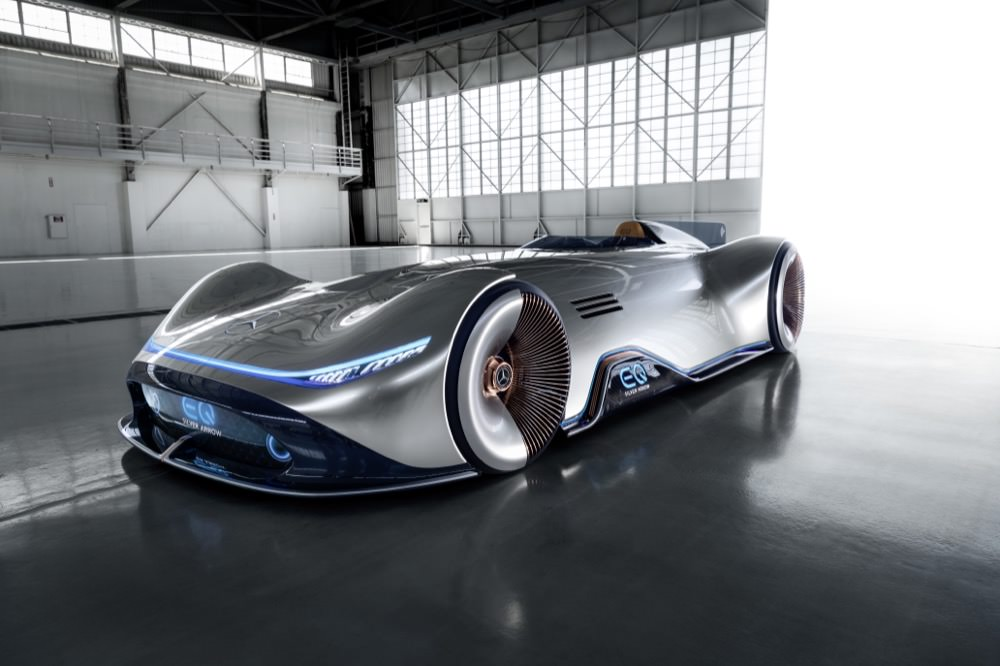 Mercedes-Benz Vision EQ Silver Arrow front quarter view