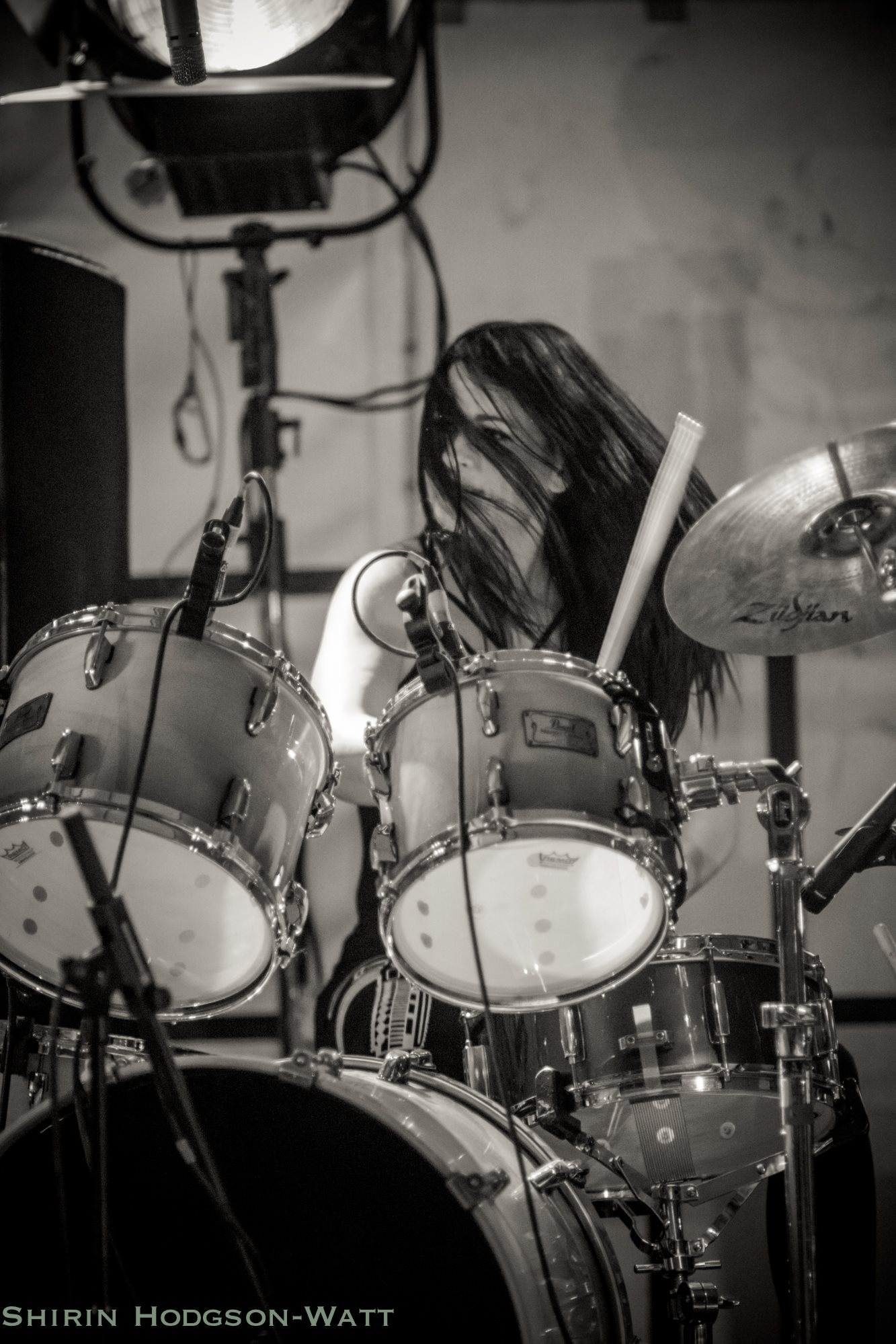 Emma Limn drumming with 50 Year Storm playing the BBC Introducing stage at Looe Music Festival 2017