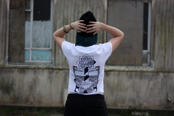 50 Year Storm Lighthouse T-Shirt White, Back View, Worn by Emma