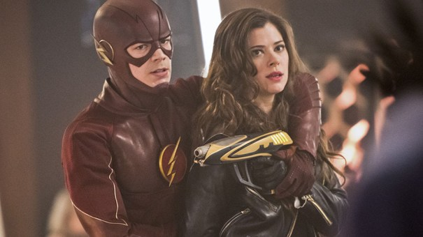 """The Flash -- """"Rogue Time"""" -- Image FLA116B_0129b -- Pictured (L-R): Grant Gustin as Barry Allen / The Flash and Peyton List as Lisa Snart -- Photo: Dean Buscher/The CW -- © 2015 The CW Network, LLC. All rights reserved."""