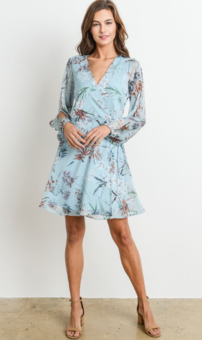 75680b8e2b21 Blue Long Sleeve Floral Wrap Dress – 510 Threads Fashion Boutique