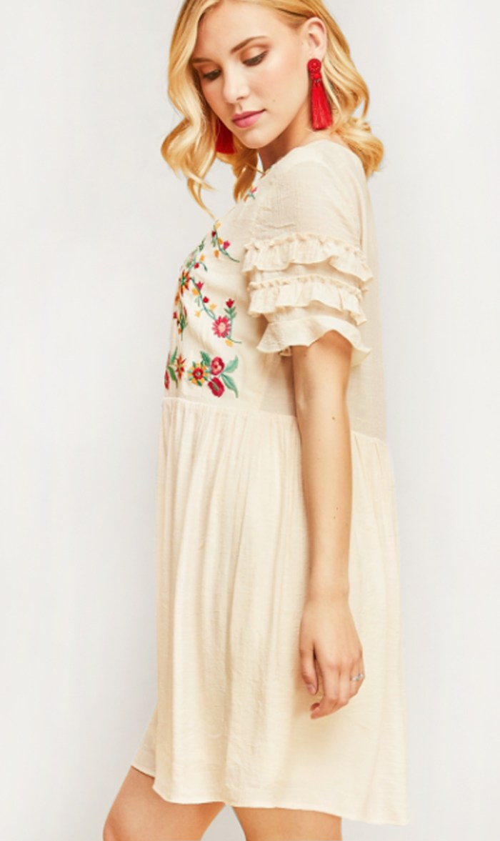 Embroidered Babydoll Dress with Ruffle Sleeve – 510 Threads Fashion ... e8b34a44a