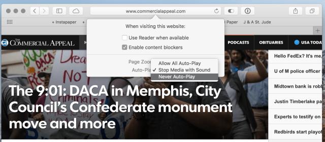 Safari per-site settings