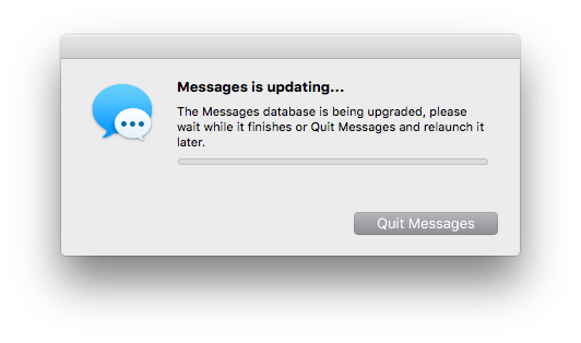 Fixing an endless 'The Messages database is being upgraded