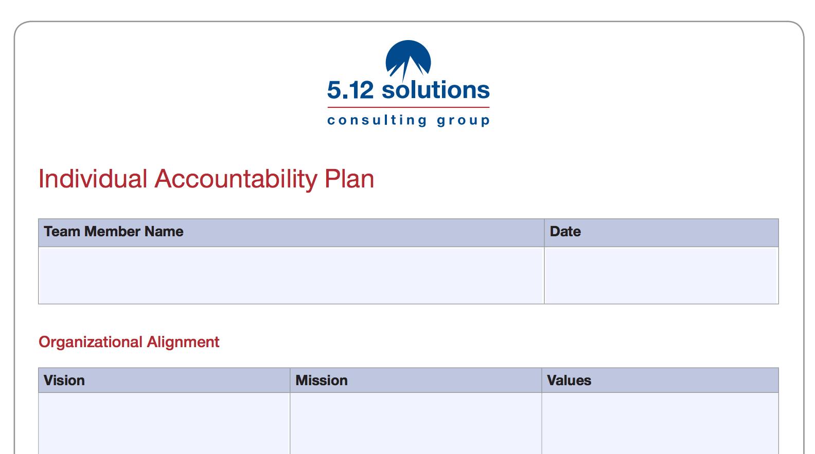 Individual Accountability Plan Worksheet