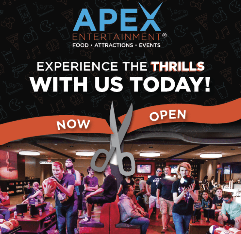 Apex Entertainment Now Open at Crossgates Mall