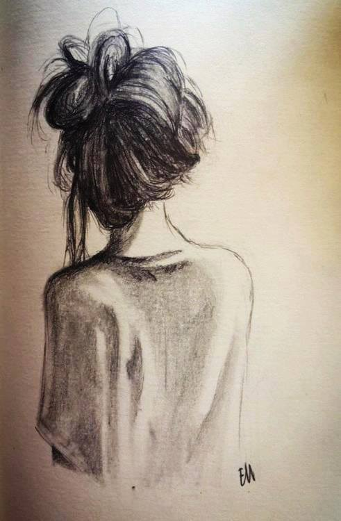 sketch of a woman with her back to the painter