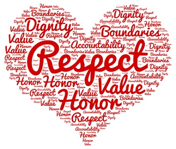 A design in the shape of a red heart has the words respect, value honor writing inside the heart.