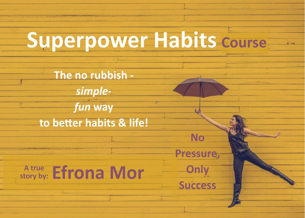 SUPERPOWER HABITS COURS FRONT PAGE WITH WOMAN HOLDING AN UMBRELLA FOR THE AD