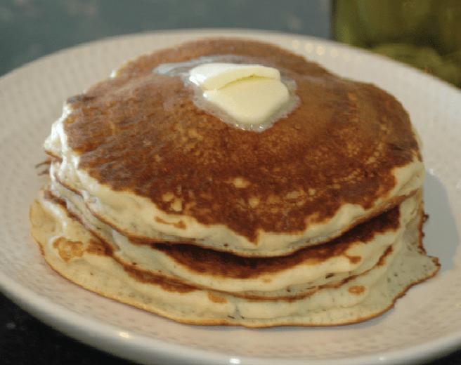 a stack of pancakes made from Homemade Pancake Mix for Quarantine Fun with butter on top