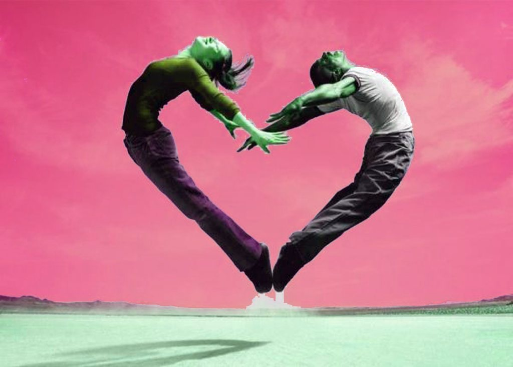 romance heals, a man and woman form their bodies to make a heart showing that hormones play a part in how we feel.