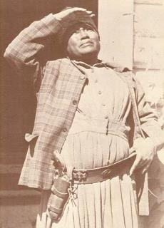 Mary Fields with her six shooter on her hip in the 1800s