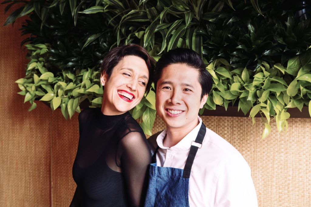 Picture of Thai and Danielle Dang the owners of a Restaurant in Pilen named HaiSous, that feed 300 people with the help of caring staff.