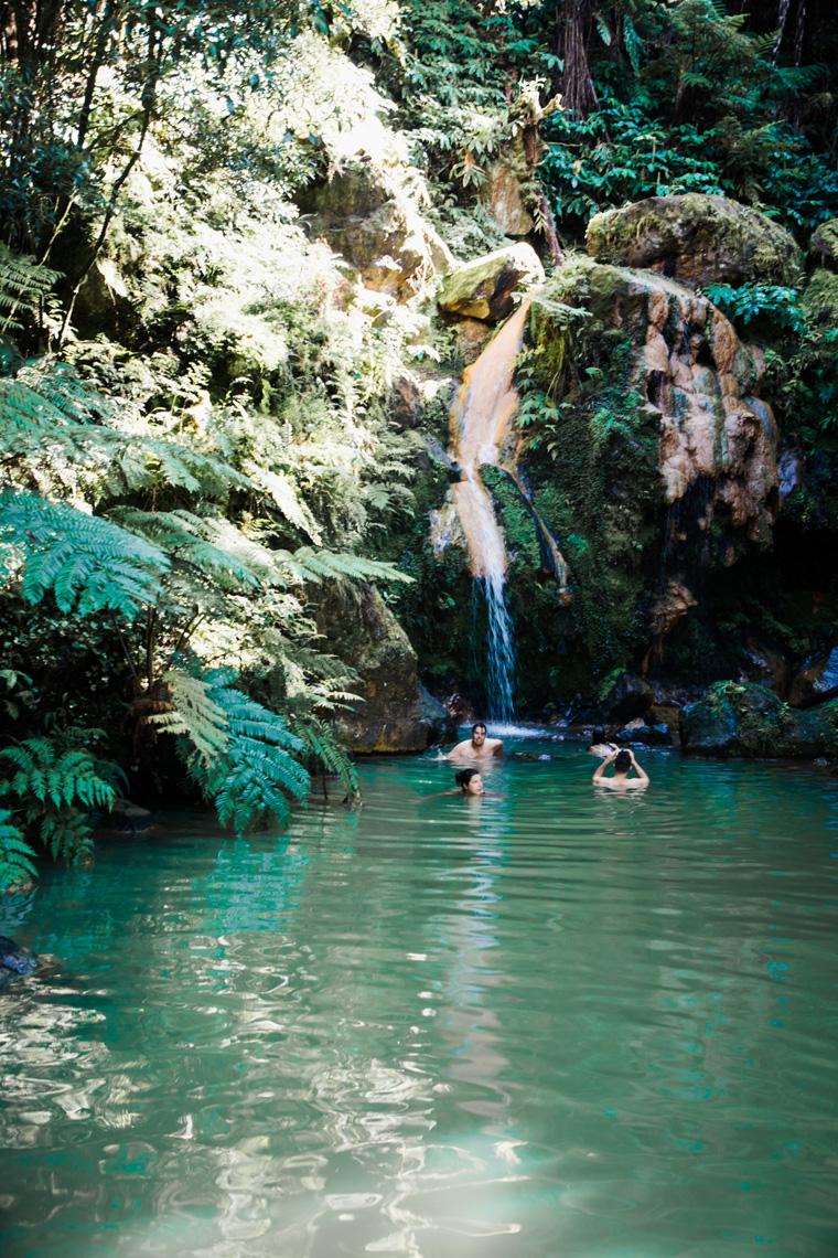 People in outdoor hot springs pool