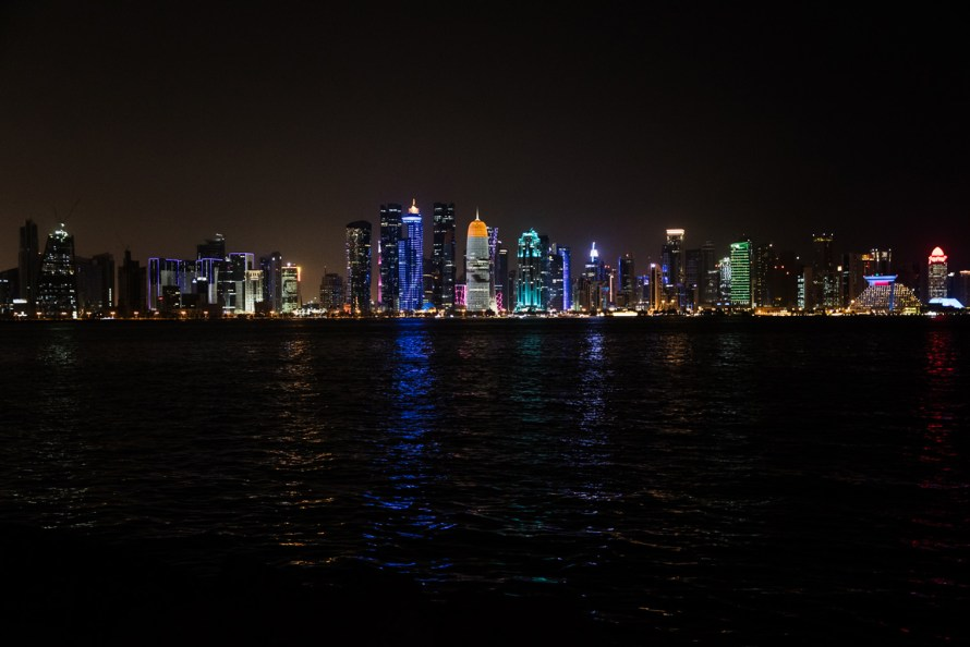 Doha skyline lit up at night