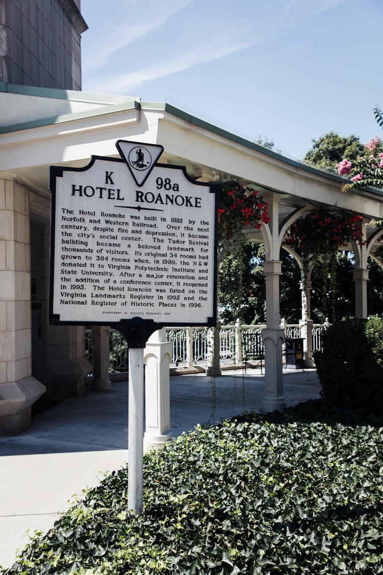 Sign explaining history of Hotel Roanoke