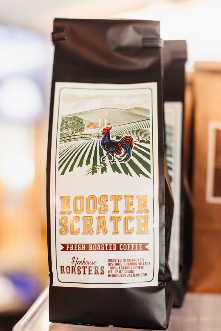 Bag of Rooster Scratch coffee beans