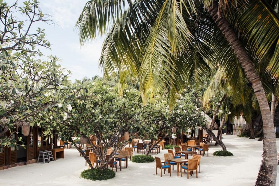Restaurant tables on the sand