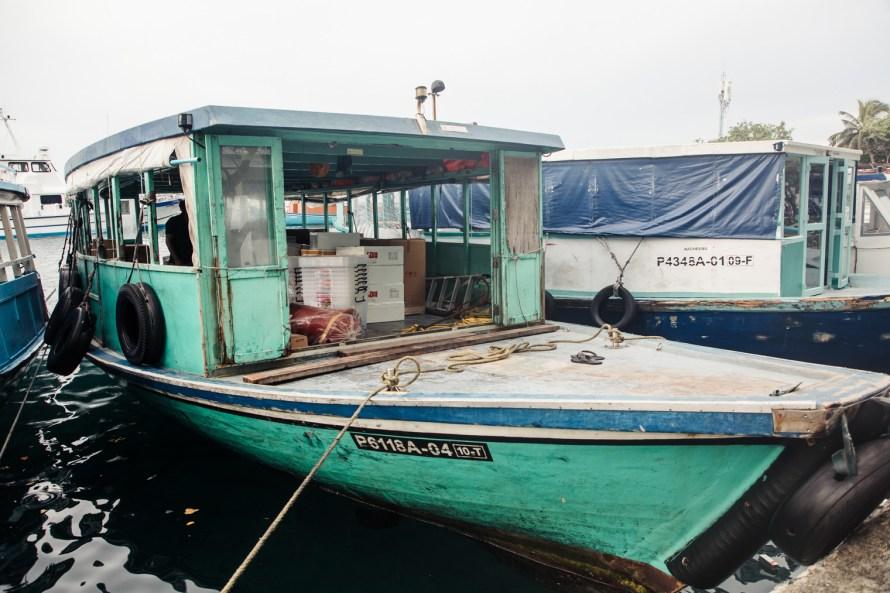 Docked green boat