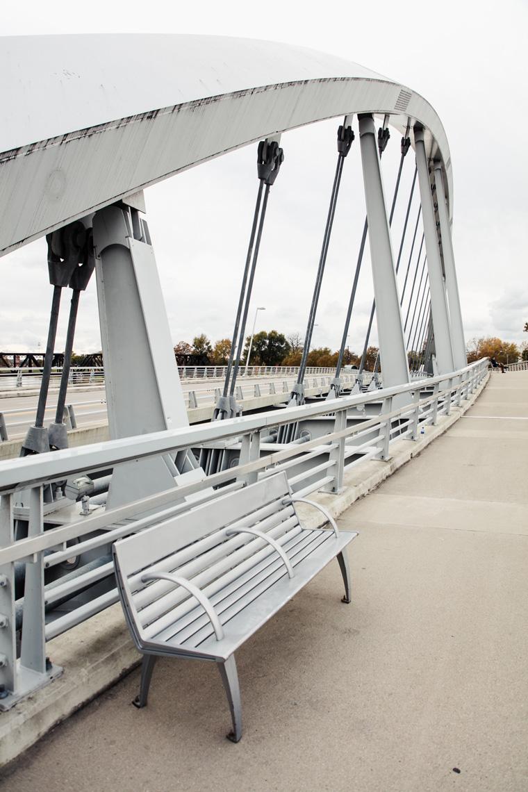 Columbus bridge and bench