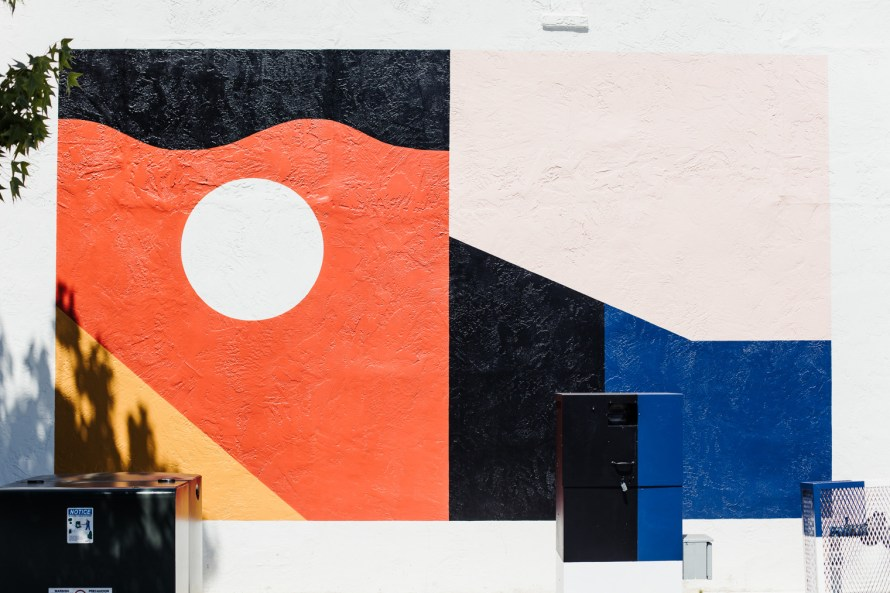 Abstract shapes painted on a wall