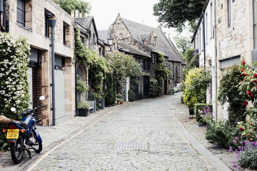 Cobblestone street in Edinburgh