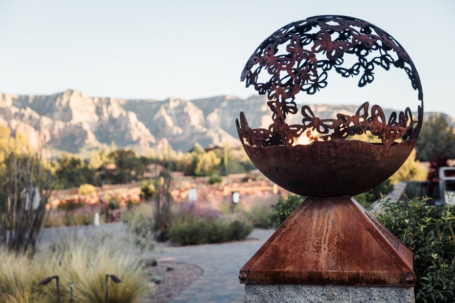 Decorative sculpture with mountain backdrop