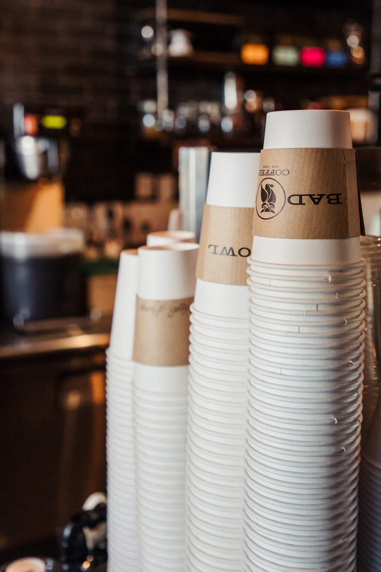 Stacks of cups at Bad Owl