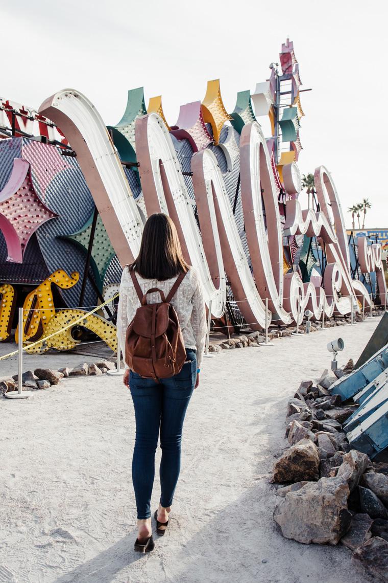 Carly walking Las Vegas Neon Museum