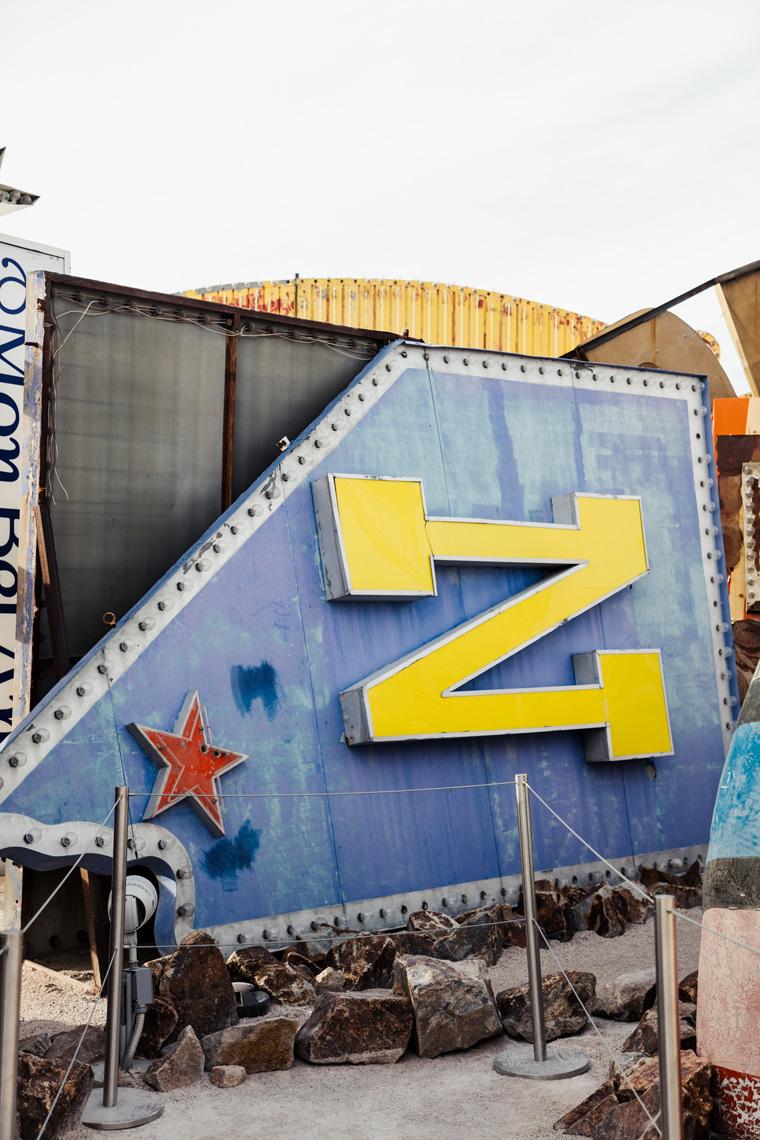 Overturned Nevada sign Las Vegas Neon Museum
