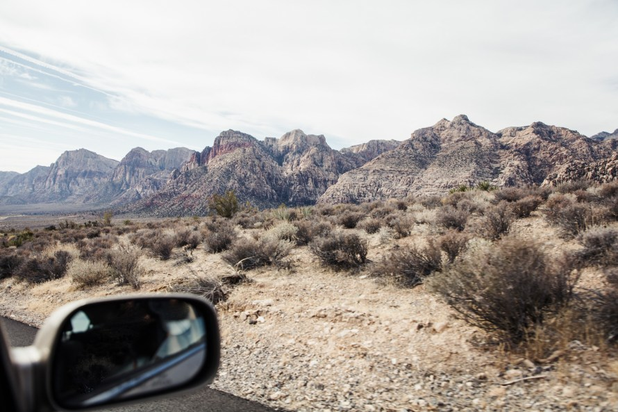 Red Rock Canyon out a car window