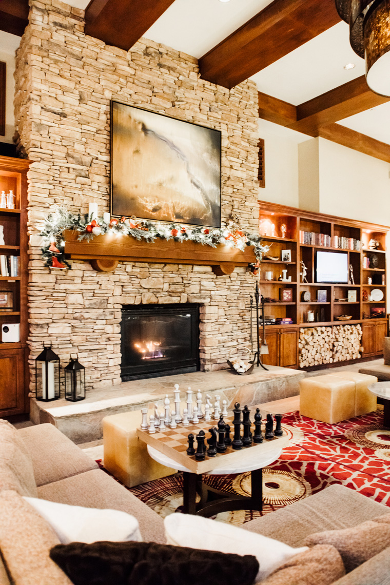 Park City Marriott lobby with fireplace