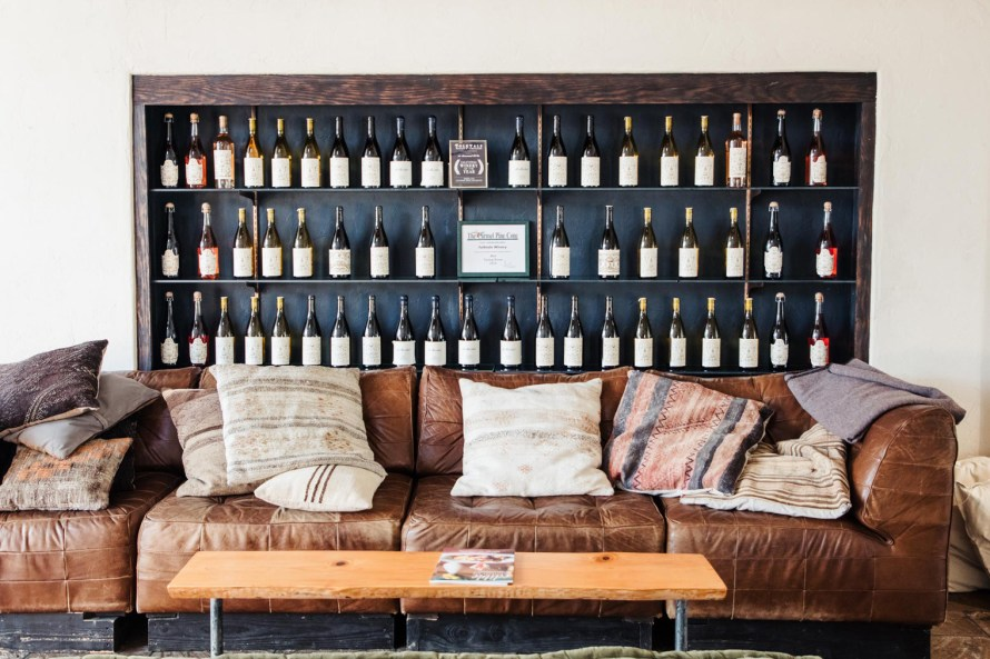 Wine bottles and couch