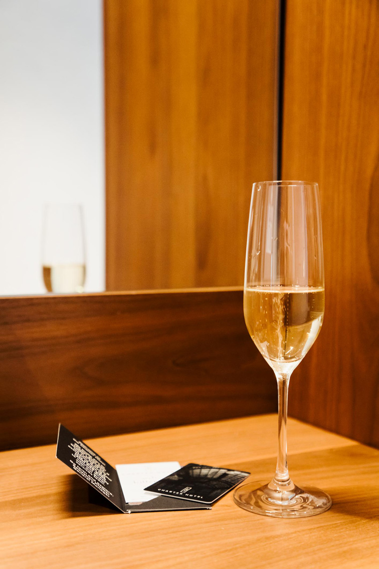 Champagne and hotel room key