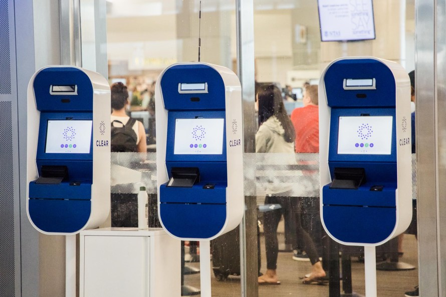 Three CLEAR airport kiosks